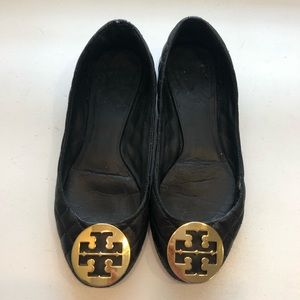Tory Burch quilted black flats size 10